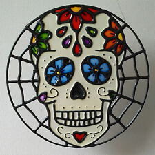 Sugar Skull faux stained glass window hanger or wall art.