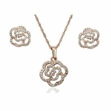 Womens Rose Gold CZ Stones Flower Jewellery Set Studs Earrings & Necklace Gift