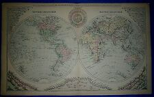 Vintage 1889 Atlas Map ~ EAST & WEST HEMISPHERES of the WORLD ~ Old Authentic