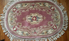 """Handmade Knotted Wool Oval Rug Royal Palace 30""""x42"""" Antique Rose P R of China"""