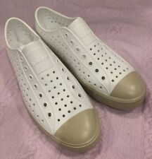 Native Mens Size 10 White/Tan Water Shoes Perforated!