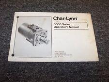 Eaton Charlynn 3000 Series Hydraulic Motor Owner Operator Operator's Manual