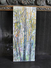 VINTAGE IMPRESSIONIST PAINTING VIBRANT BIRCH & ASPEN TREE FOREST - PALETTE KNIFE
