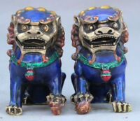"4.7"" China Fengshui Cloisonne Enamel Bronze Foo Fu Dog Guardion Lion Statue Pair"
