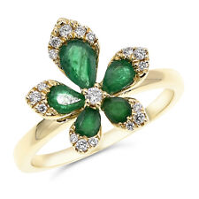 Flower Cocktail Right Hand Ring 14K Yellow Gold Pave Diamond Emerald