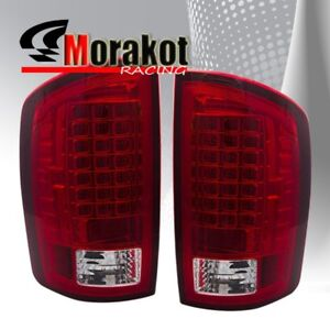 Dodge Ram 1500 07-08 / Ram 2500&3500 07-09 Rear Brake LED Tail Lights Red Clear