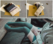 Ladies Comfortable Over The Knee Thigh High Long Rib Knit Warm Socks + Lace Trim
