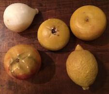 Vtg Italian Alabaster Stone Fruit Lot Of 5 - 1 Figs 1 Lemon 3 Apples