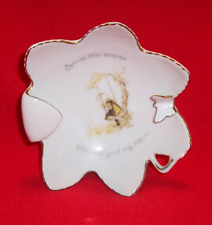 Vintage 1974 Holly Hobbie Porcelain Ashtray/Candy Dish Butterfly Gold Trim
