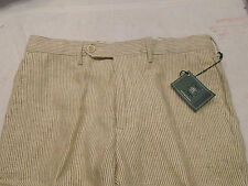 Kent & Curwen 100% Linen Brown and Cream Stripe Briggs Pants NWT 32 x 36 $285