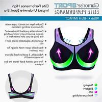 Glamorise Women's Plus Size Full Figure High Impact, Black/Purple, Size 42DD MBI