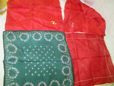 Vintage 4 Handkerchiefs Silk cotton red green printed embroidered flowers