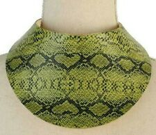 SNAKESKIN Olive Green & Black  Chic Armored Bib Runway NECKLACE Only!