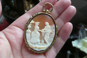 Victorian Carved Tricolour Shell Cameo and Gold Gilt Metal Pendant