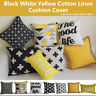 """Art Black and White Yellow Home Decor Cotton CUSHION COVER PILLOW CASE 18"""""""