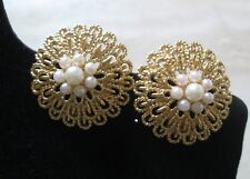 "VINTAGE AVON GOLD-TONE/FAUX PEARL CLIP EARRINGS 1 1/2"" L & W*1992*NEW*OLD STOCK"