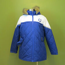 New XXL Women's NFL Indianapolis Colts Thermal Hooded Jacket Faux Fur Trim