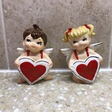 Vintage Lefton Valentine Boy & Girl Angel Figurines With Be Mine Red Hearts