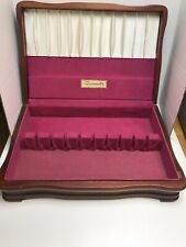 Vtg Oneida Community Wooden Flatware Storage Box Chest Holds service For 12