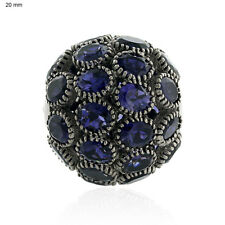 12.63ct Natural Iolite Disco Bead Ball Spacer Finding Sterling Silver Jewelry