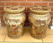 More details for vintage 2 chinese furniture porcelain satsuma stool plant stand side table