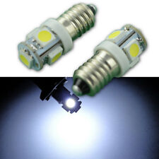 2x Bright 6000k E10 SMD 5050 5 LED BULBS MES SCREW TORCH HEADLAMPS 12V DC