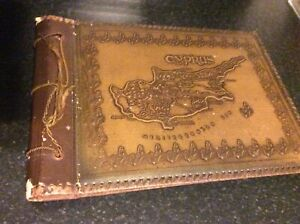 Old Cyprus  Brown Leather Photo Album Embossed Cover