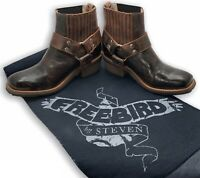Freebird By Steven Size 8 Whiskey NWOT Harness Biker Boots/Booties. Bag Included