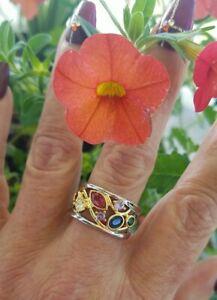 Multi Gemstone Open Design Band Ring,18KYG/925, Size 7