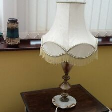 Nice Vintage Onyx and Brass Ornate Table Lamp with Shade