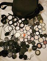 Massive Lot Camera Lens Filters, Caps, Bag, Shutter Release, Hoods -Many Sizes!