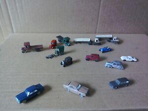 Vintage N GAUGE Vehicle Job Lot - Cars Vans Trucks For Railway Layout - Free P&P
