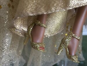 Barbie Model Muse Gold Glittery Sandals OOAK High Heels Silkstone FR2