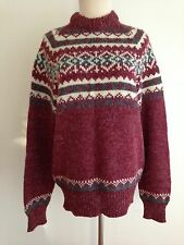 ALBEMARLE  Fairisle Sweater Deep Red Off White Gray Size Large