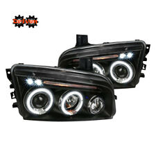 06-10 Dodge Charger Headlights Black Projector w/LED DRL Dual Halo