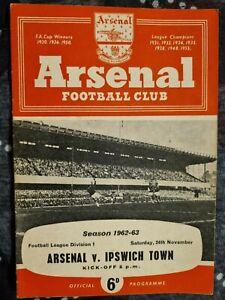 1962/63 ARSENAL v IPSWICH TOWN - 24th November 1962