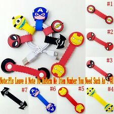 1PCS Hero Minion Spider/Iron Man USB/Headphone Wire Cord Cable Winder Fixer Hold