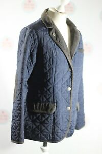 Tayberry Blue Quilted Jacket Coat Cord Collar UK Small