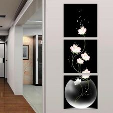 3 Panels Unframed Vase with Flower Canvas Painting Picture Wall Craft Decor #NE8