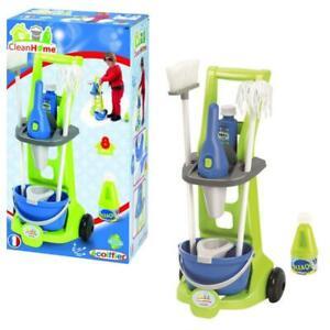 Kinder Putzwagen Spielzeug Putzset Reinigungswagen mit Eimer Wischmop Besen