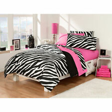Girl Pink Black Zebra Bedroom Dorm Comforter Sheet Bath Towel 30 pcs Twin XL Set