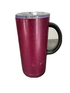 18oz Double Wall Stainless Steel Glitter Mug with Lid and Handle Magenta