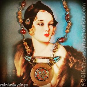 Upcycled Vintage Jewelry, handcrafted, OOAK, necklace, turquoise, copper, beads