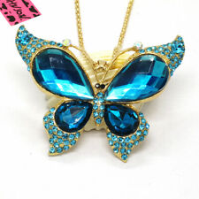 Hot Cute Blue Butterfly Large Crystal Betsey Johnson Pendant Chain Necklace