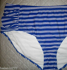 Edited Beach Plus 22 Royal Blue White Striped Ruched Side Bikini Bottoms Separat