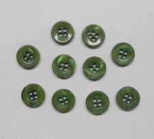 Lot of 10 Green Sewing Buttons, 1/2 inch