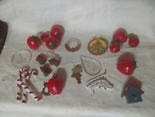 24 VTG Xmas Ornaments Mixed Lot Teddy Bears Candy Canes Apples Sleigh Angels