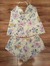 Stunning Summer Yellow Floral Pyjama Shorts & Vest Size 16 New Holiday Summer