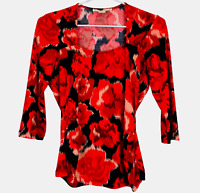 Jane Lamerton Womens Red/Black Floral 1/2 Sleeve Blouse Top Size 8