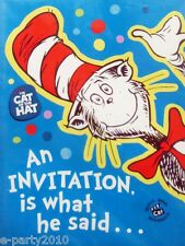 Dr. Seuss CAT IN THE HAT INVITATIONS (8) ~ Invites Cards Birthday Party Supplies